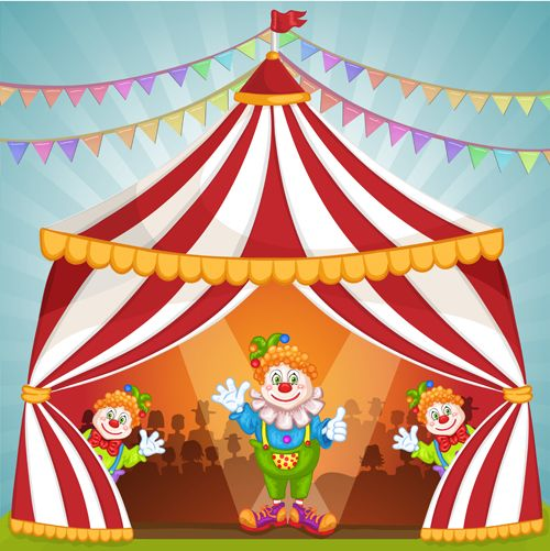 Cartoon circus tent and animals design vector 05