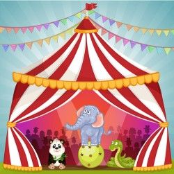 Cartoon circus tent and animals design vector 09