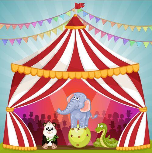 Cartoon circus tent and animals design vector 09