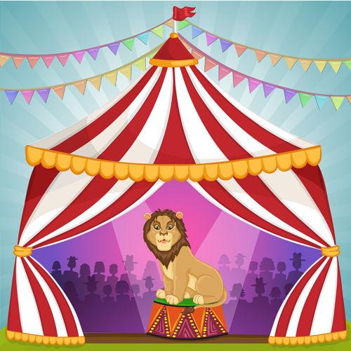 Cartoon circus tent and animals design vector 10