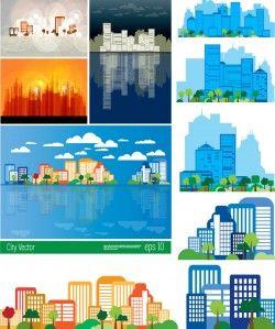 Cartoon urban design vector