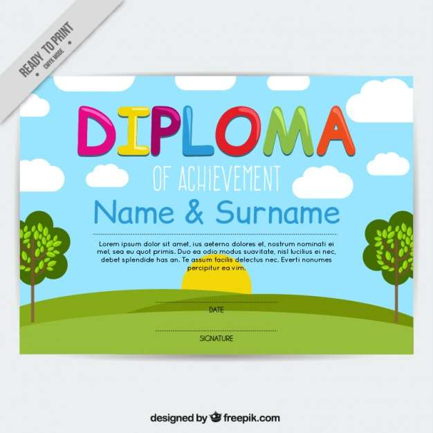 Children's diploma with a landscape