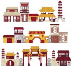 Chinese Classical Architecture illustration vector