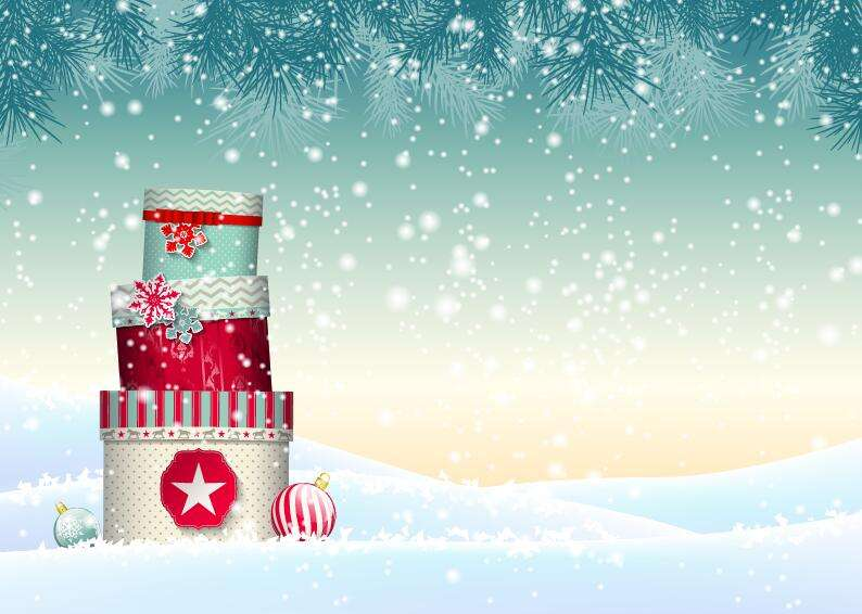 Chrishtmas gift box with winter snow background vector 03