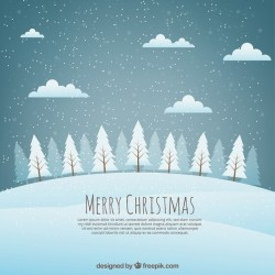 Christmas background landscape with snowy trees Vector | Free Download