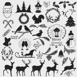 Christmas elements, black and white