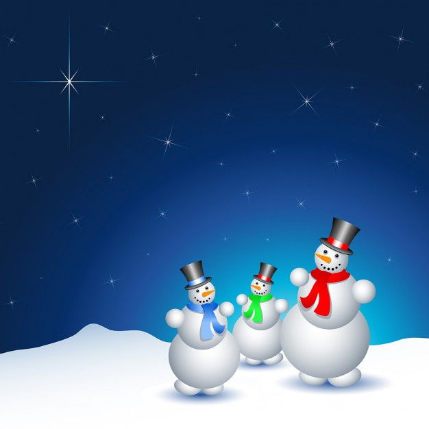 Christmas landscape with three snowmen Vector | Free Download