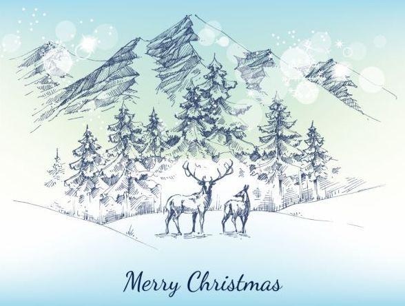 Christmas snow mountains hand drawn