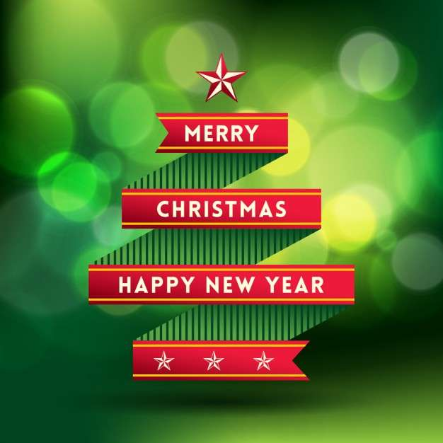 Christmas tree with a red ribbon Vector | Free Download