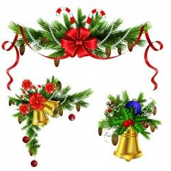 Christmass corner decorative with bell vector 05