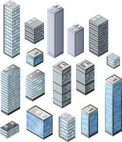 City high-rise building vector shape