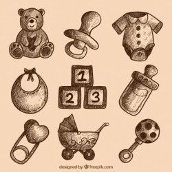 Collection of baby items sketches