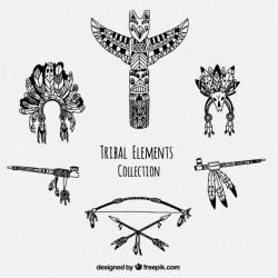 Collection of hand-drawn tribal accessories
