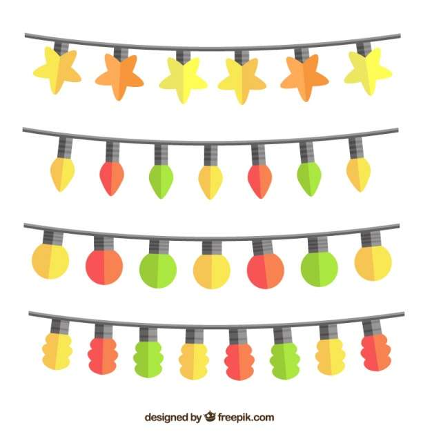 Collection of strings with colorful bulbs Vector