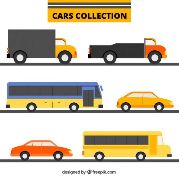 Collection of transports in flat design