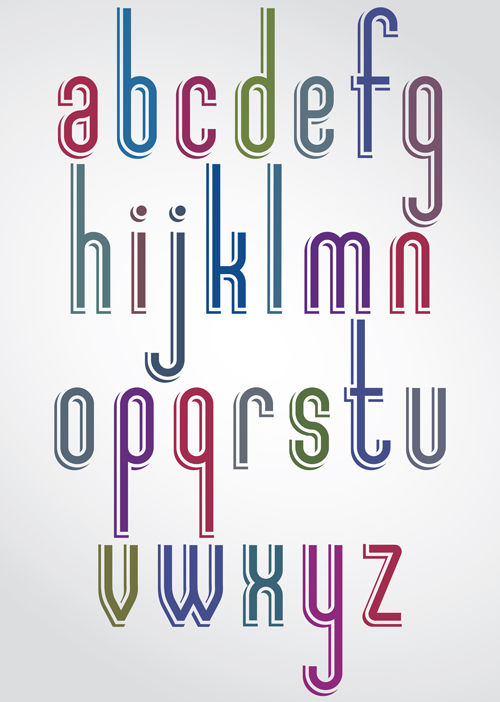 Colored flat alphabet vector 02