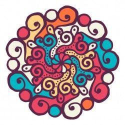 Colorful mandala with wavy shapes
