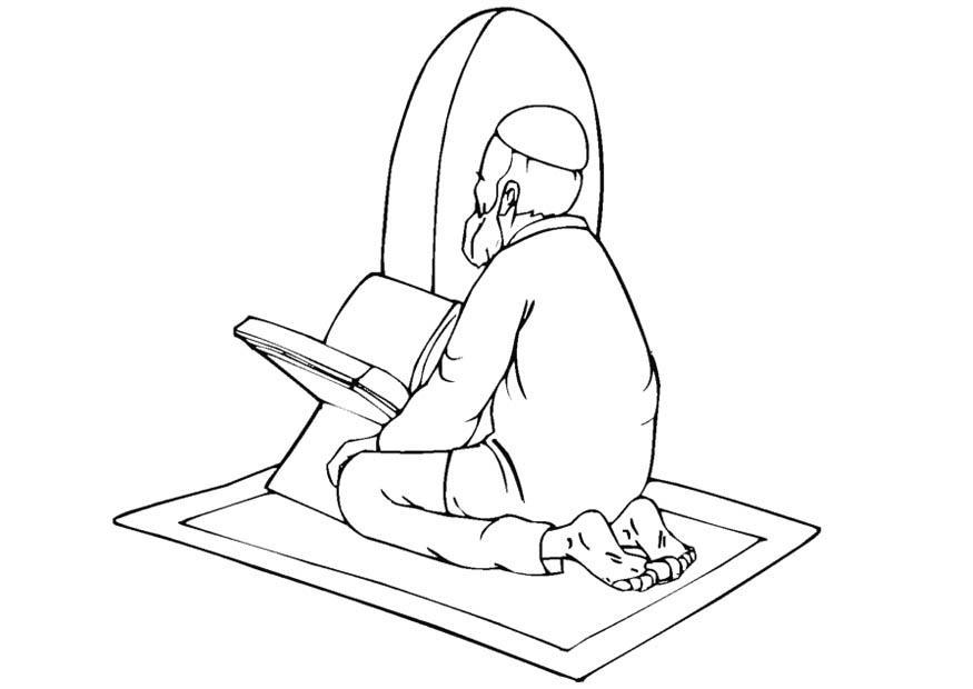 Coloring Page Muslim Praying