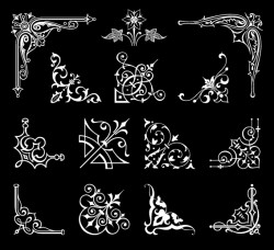 Corner ornaments white styles vectors 01