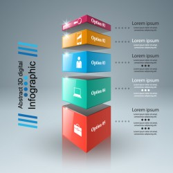3d boxs infographic vector