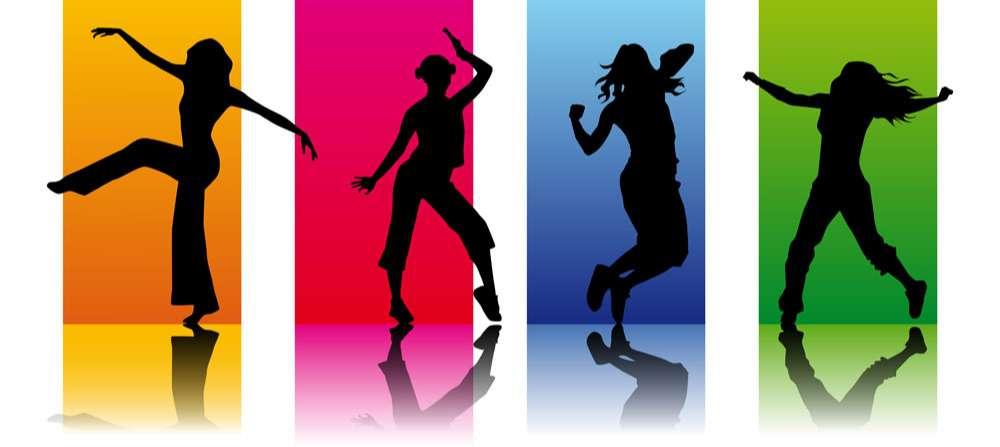 Dancing beauty silhouette figures