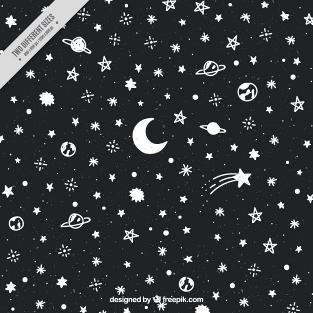 Dark background with stars and planets