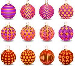 Decor pattern christmas ball vector