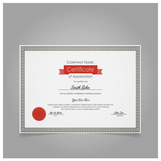 Diploma of appreciation template with red seal