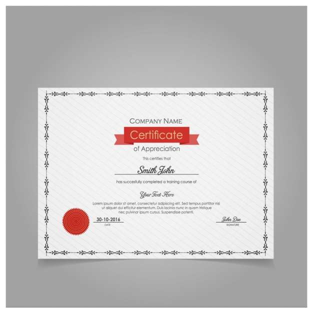 Diploma of appreciation with red seal