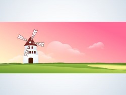 Dutch windmills landscape vector