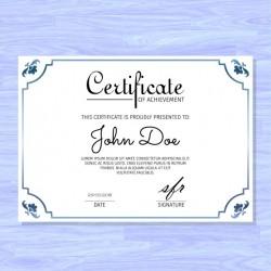 Elegant certificate, blue ornaments