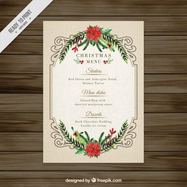 Elegant floral watercolor christmas menu