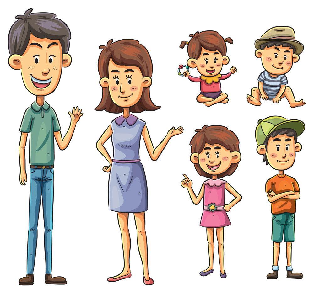 Family Cartoon character vector