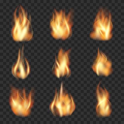 Flame illustration set vector 03