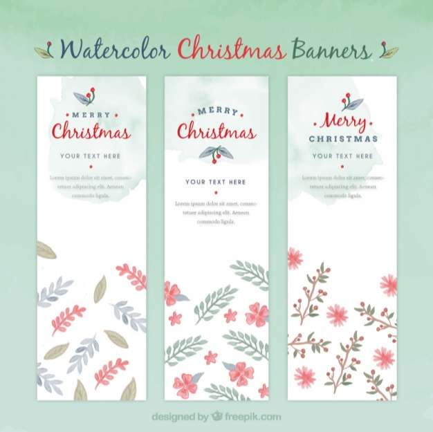 Floral watercolor christmas banners