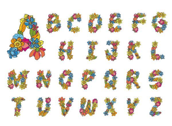 Flower alphabet fonts vector 01