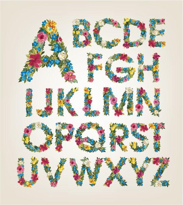 Flower alphabet fonts vector 02
