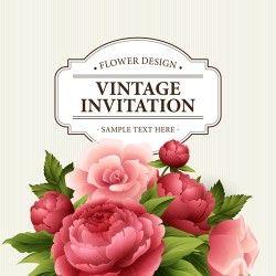 Flower design vintage invitations card vector 01