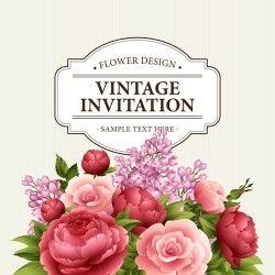 Flower design vintage invitations card vector 02