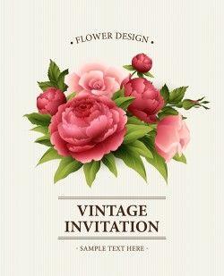 Flower design vintage invitations card vector 05