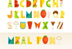 Food alphabets vectors design