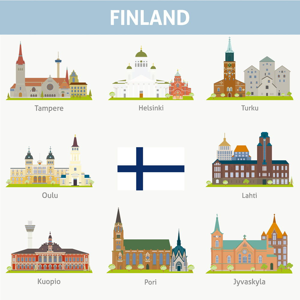 Foreign buildings vector design