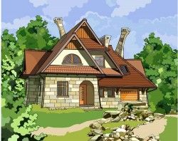 Forest villa design vector