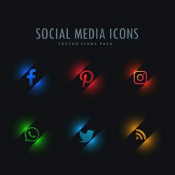 Futuristic icons, social networks