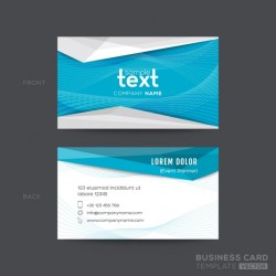 Geometric blue business card with wavy lines