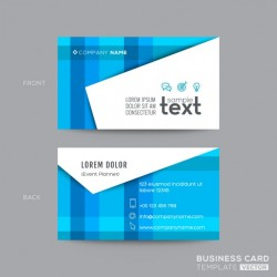 Geometric business card with blue lines