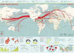 Global Internet Traffic Map 2010 Infographic