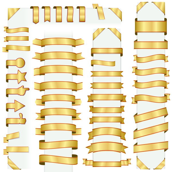 Golden ribbon banners vectors 01