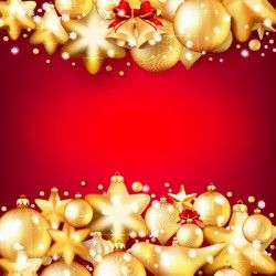 Gold christmas baubles with red background vector 04