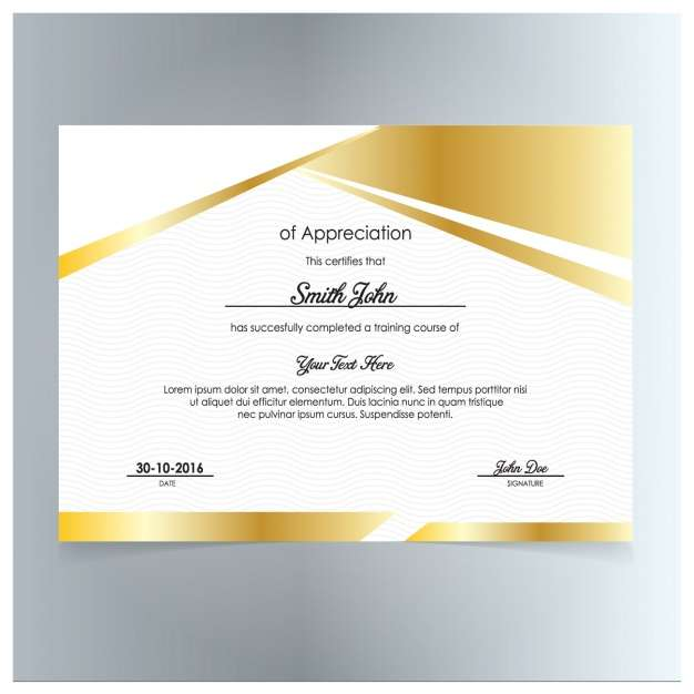 Golden certificate of appreciation